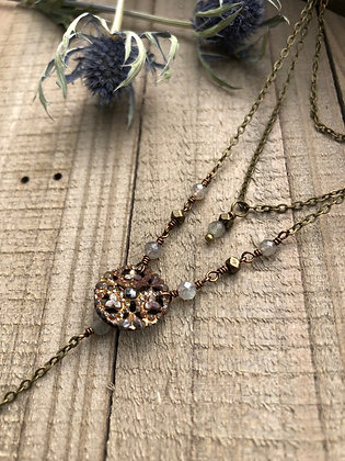 Multi-strand Victorian Button Y Necklace