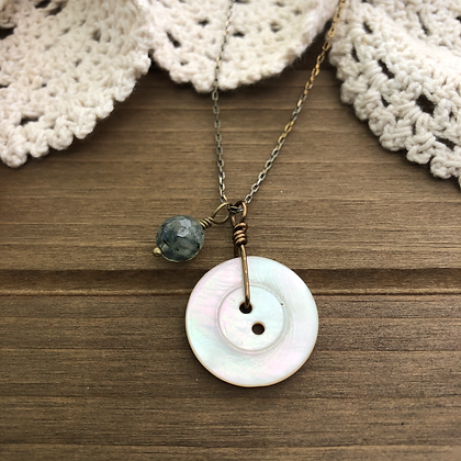 Button Charm Necklace with Prehnite