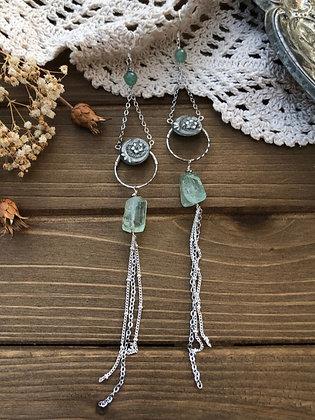 Victorian Button Tassel Earrings