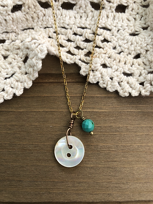 Little Button Charm Necklace with Turquoise