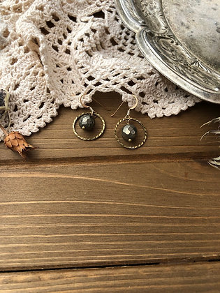 Ring Earrings with Pyrite