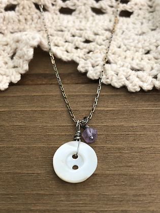 Little Button Charm Necklace with Amethyst