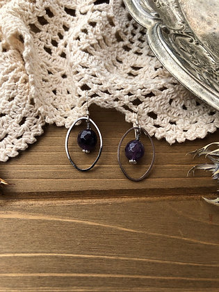 Ring Earrings with Amethyst