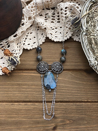 Snowflake Victorian Button Necklace with Labradorite