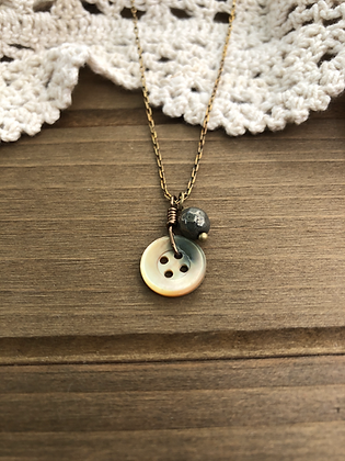 Little Button Charm Necklace with Pyrite