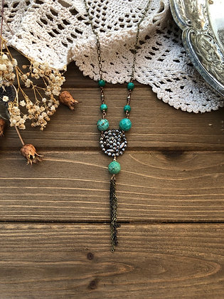 Long Victorian Button Tassel Necklace