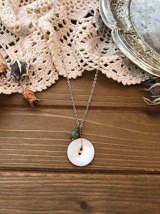 Button Charm Necklace with Labradorite