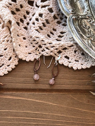 Drop Earrings with Rose Quartz