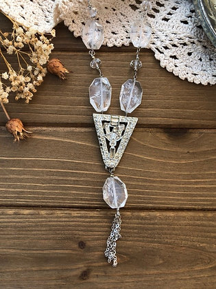 Vintage Rhinestone Quartz Crystal Necklace