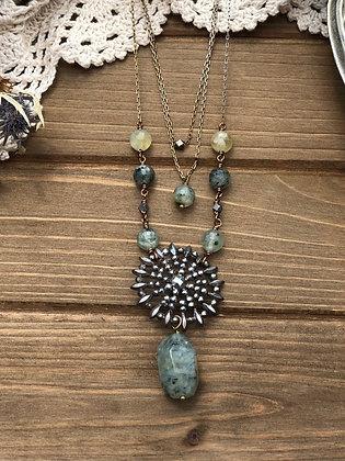 Multi strand Victorian Button necklace