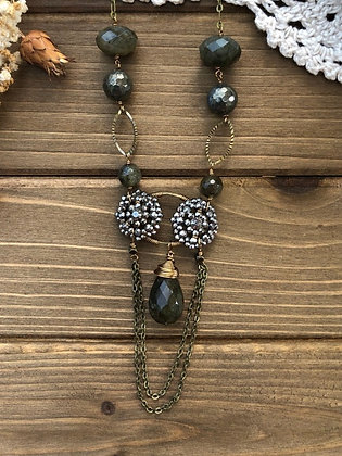 Riveted Steel Cut Victorian Button Drape Necklace