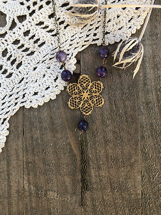 Deadstock Floral Brass Necklace with Amethyst