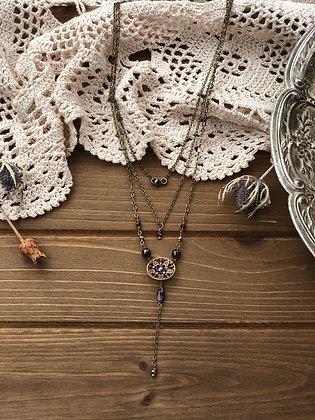 Multi strand Victorian Button Y Necklace