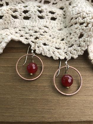 Ring Earrings with Carnelian