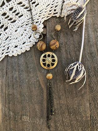 Deadstock Brass Necklace with Wood Jasper