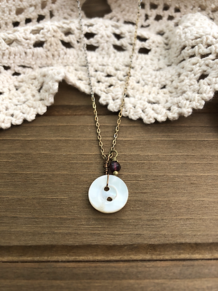 Little Button Charm Necklace with Garnet