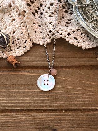 Button Charm Necklace with Rose Quartz