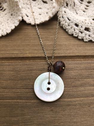 Button Charm Necklace with Poppy Jasper