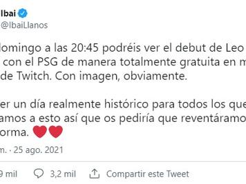 Ibai transmitirá por Twitch el debut de Messi en el PSG