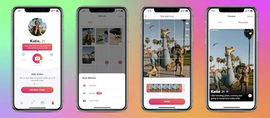 Tinder ya permite añadir hasta 9 clips de video en los perfiles