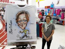 Caricaturas ao vivo em camisetas