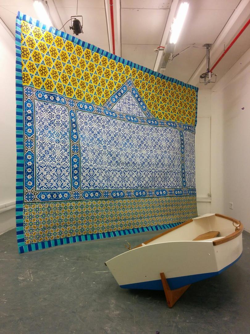 Tapestry Screen print on Tyvek sewn toge