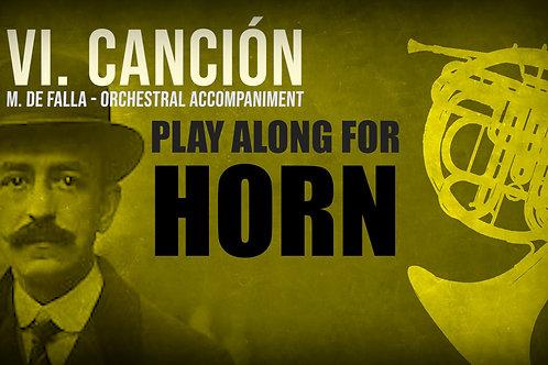 VI. CANCIÓN (Seven Spanish Folksongs) by FALLA - For solo HORN