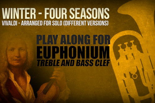 WINTER (FOUR SEASONS) by A. Vivaldi - For solo EUPHONIUM (treble and bass clef)