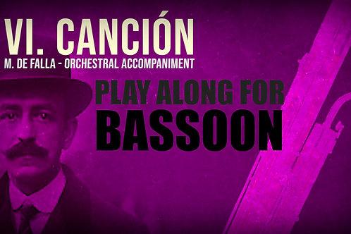 VI. CANCIÓN (Seven Spanish Folksongs) by M. de FALLA - For solo BASSON