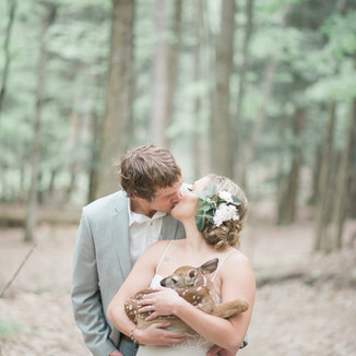 Bride and Groom with Fawn