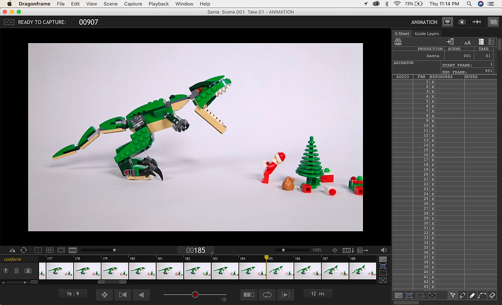 Lego T Rex and Santa stop motion animation captured using Dragonframe