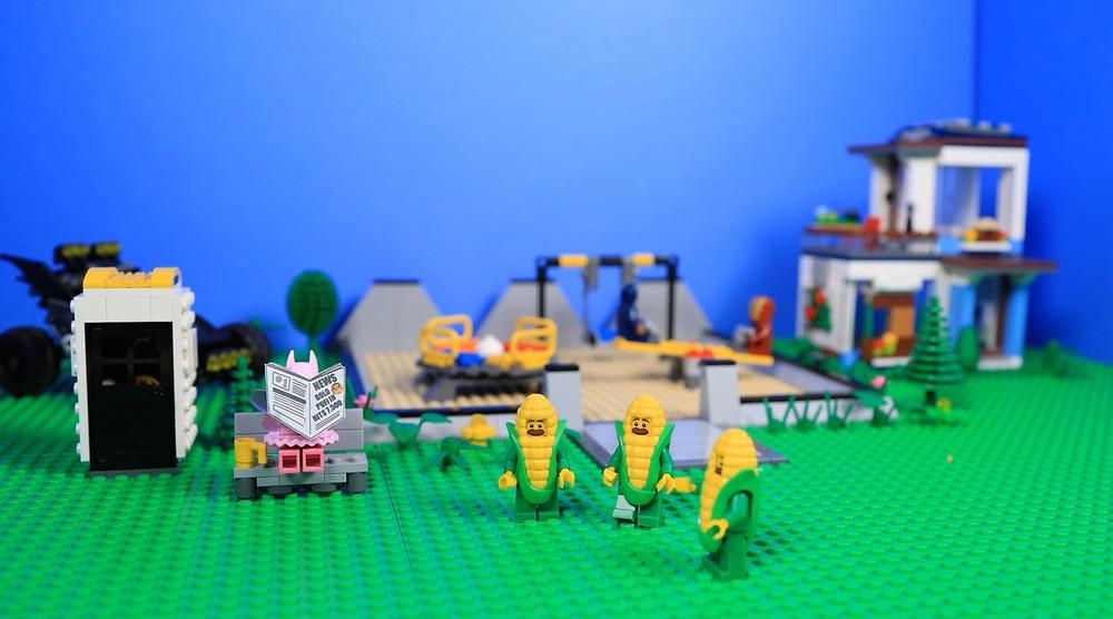 Pink Tutu Batman Lego corn minifigures Animated Brick Builders Gold Puffin contest brickfilm