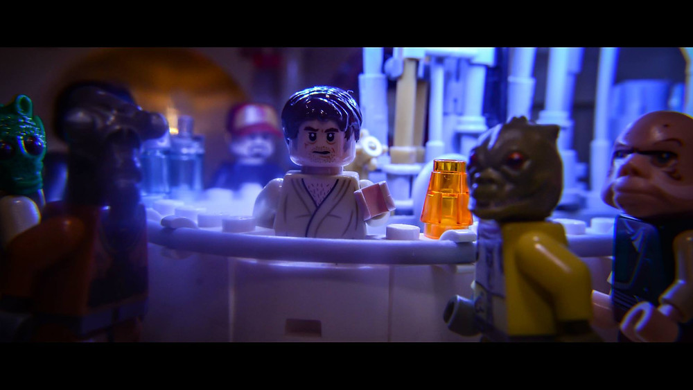 Star Wars scene Mosley Cantina in Lego stop motion