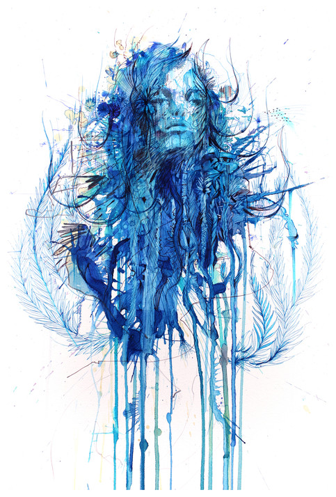 Blue Flowers by Carne Griffiths