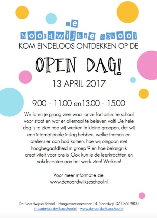 OPEN DAG: 13 april 2017