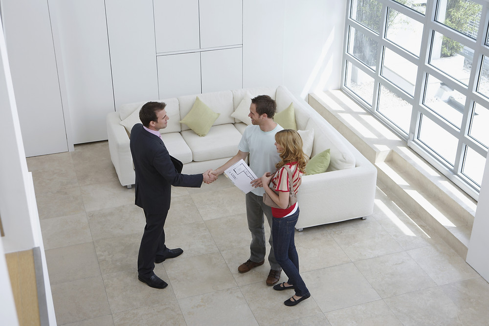 A real estate professional shaking hands with client inside naturally lit home with modern decor.