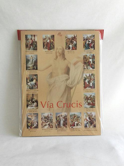 Juego de 15 láminas para el rezo del via crucis