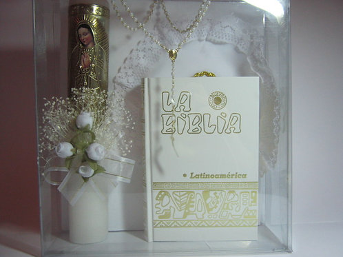 Estuche para primera comunión para niña: Biblia latinoamericana bolsillo blanca, vela adornada, rosario y limosnera