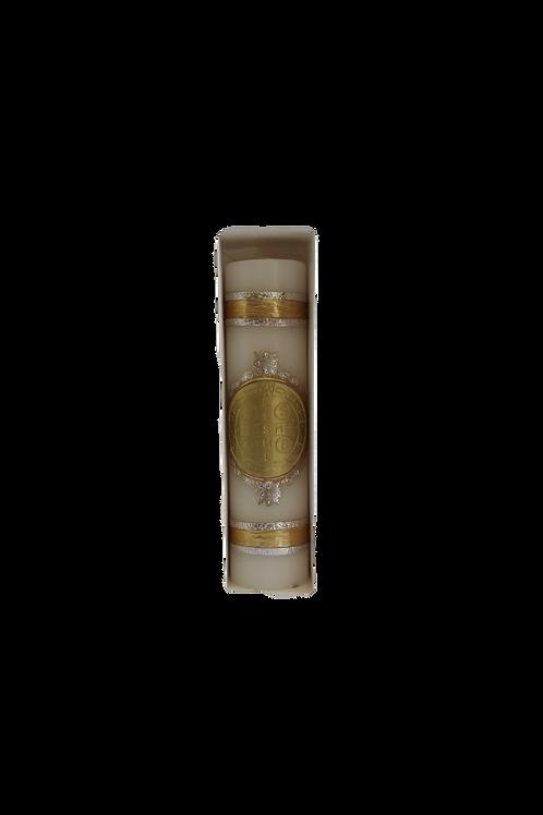 Cirio 20x5 cm en cera con medalla de San Benito en cera