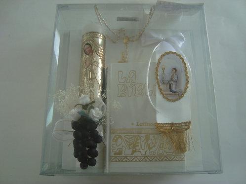 Estuche para primera comunión para niño: Biblia latinoamericana bolsillo blanca, vela adornada, rosario y brazalete