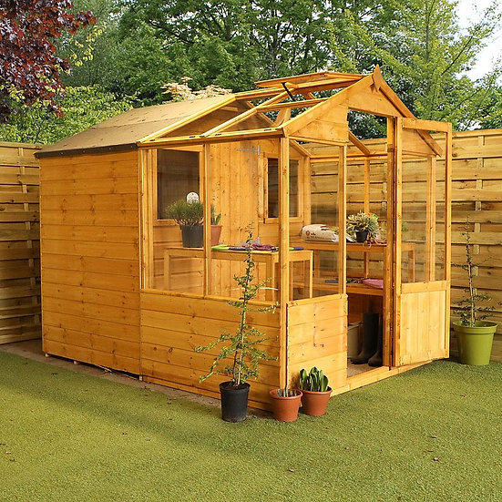 8x6ft greenhouse with shed