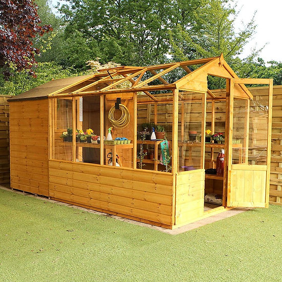 12x6ft greenhouse with shed