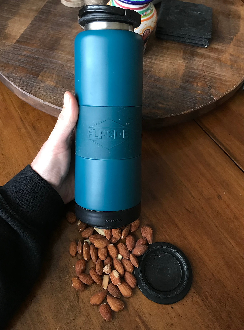 FLPSDE Dual Chamber Water Bottle with Storage for Snacks and More