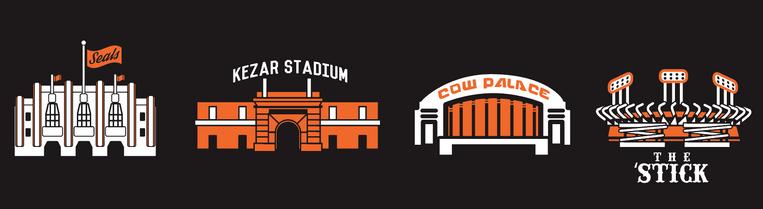 Seals Stadium, Kezar Stadium, Cow Palace, Candlestick Park