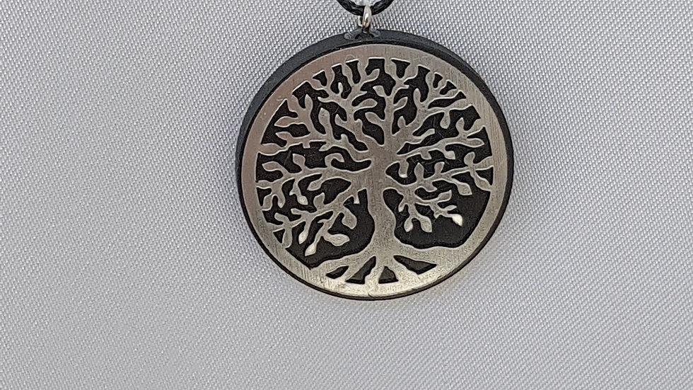 Pendentif motif arbre de vie Argent dans cercle Shungite  diamètre 3 cm