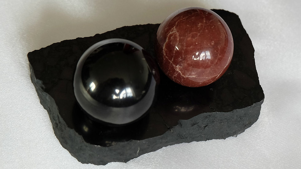 Harmoniseur sphères 3.5 cm shungite et quartzite
