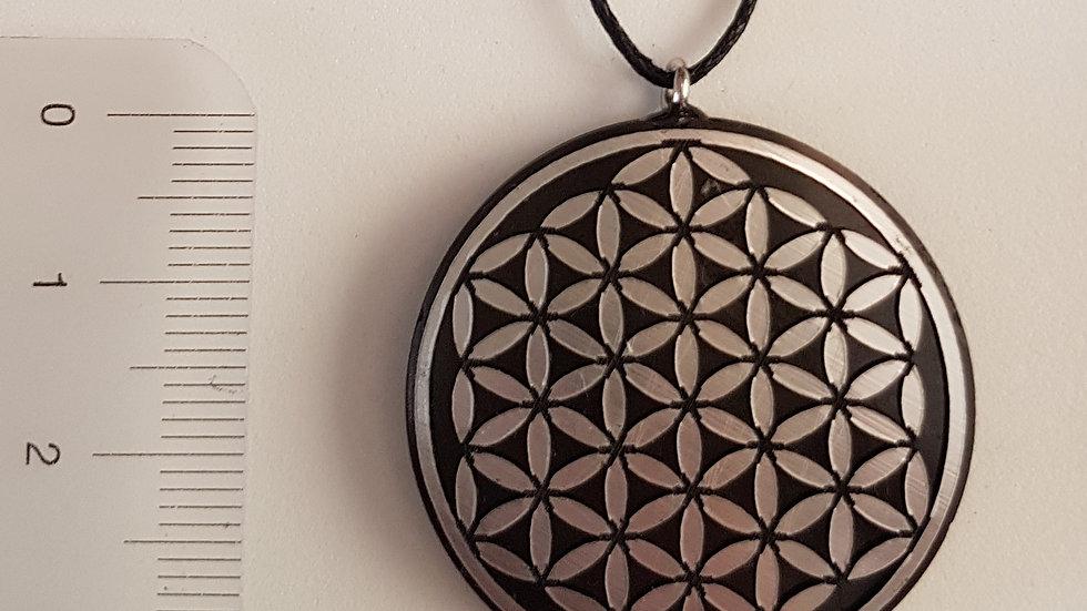 Pendentif fleur de vie motif Argent Shungite  diamètre 3,5 cm