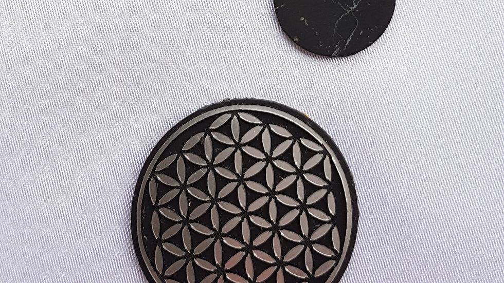 FLEUR DE VIE couleur argent pastille adhésive 2.5/3cm téléphone, IPAD, PC.