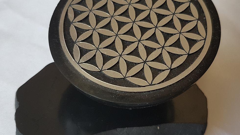Demi-sphère de massage motif fleur de vie 7 cm avec support