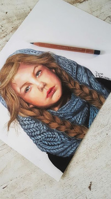 Girl with a knitted skarf